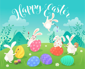Easter greeting card with white cute bunnies drawing on colorful eggs. Fun illustration of rabbits and eggs on grass and Happy Easter text.