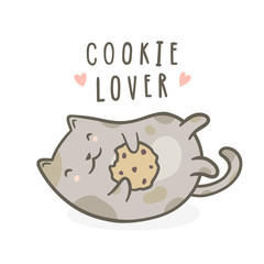 Cute kitty with cookie. Vector hand drawn cartoon illustration