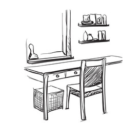 Dressing table with mirror. Vector sketch