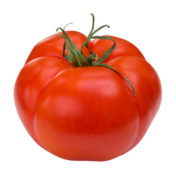 Bio organic beef tomato isolated on white background