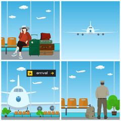Airport , Waiting Room with Woman and Man in Uniform, Plane in the Sky, View on Airplane through the Window and Scoreboard Arrivals , Travel and Tourism Concept, Vector Illustration