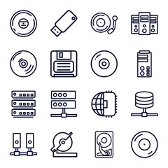 Set of 16 disk outline icons