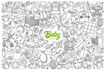 Hand drawn baby shop doodle set background with green lettering in vector