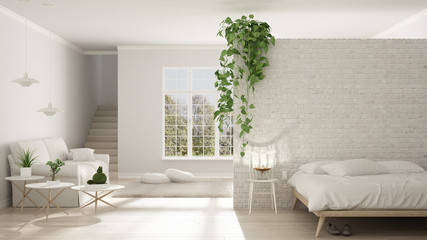 Scandinavian white minimalist living with bedroom, open space, one room apartment, classic interior design