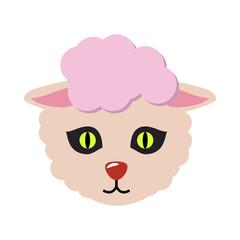 Sheep Animal Carnival Mask. Cute Wooly Lamb Vector