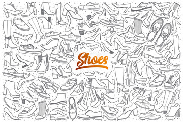 Hand drawn shoes doodle set background with orange lettering in vector