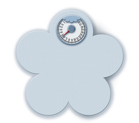 Illustration weight scale blue light flower