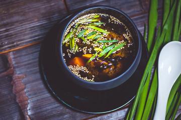 Soybean soup top view