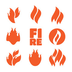 Fire icons, fire flame illustration set