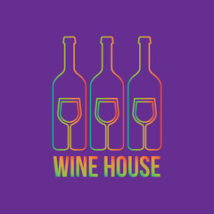 Wine menu colorful logo design with bottles