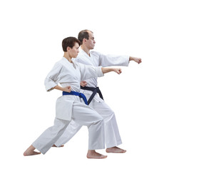 Sportsmen are training blows hand on a white background isolated