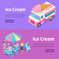 Ice Cream Mobile Umbrella Cart and Minivan Poster