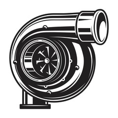 Isolated monochrome illustration of car turbocharger on white background
