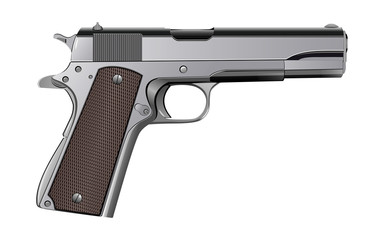 Colt M1911 pistol isolated on white vector