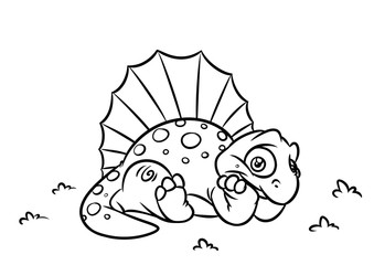 Dinosaur Dimetrodon coloring page cartoon Illustrations isolated image animal character