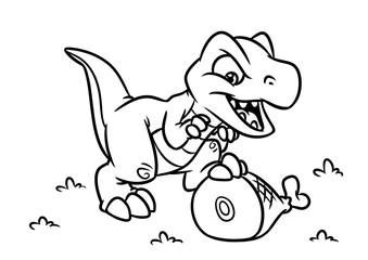 Dinosaur Tyrannosaur coloring page cartoon Illustrations isolated image animal character