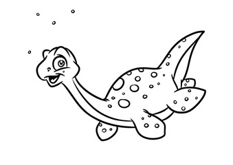 Dinosaur Plesiosaur coloring page cartoon Illustrations isolated image animal character