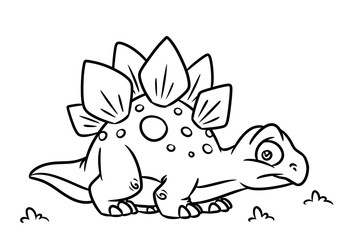 Dinosaur Stegosaurus  coloring page cartoon Illustrations isolated image animal character