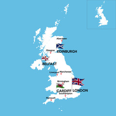 A detailed map of Great Britain with indexes of major cities of the country. National flag of the state. Vector illustration.