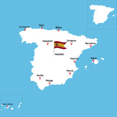 A detailed map of Spain with indexes of major cities of the country. National flag of the state. Vector illustration.