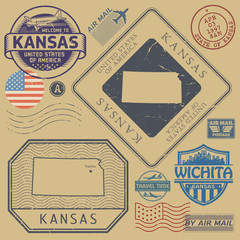 Retro vintage postage stamps set Kansas, United States