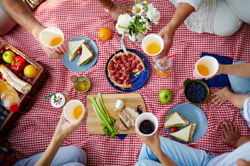 Picnic blanket with healthy food and human hands with drinks over it
