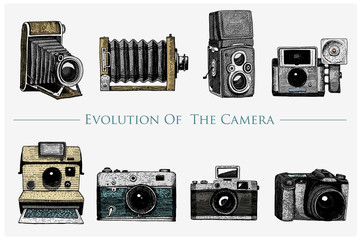 Camera Vintage Vector Free : Evolution of the photo video film movie camera from first till