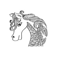 Hand-drawn horse with ethnic floral doodle pattern