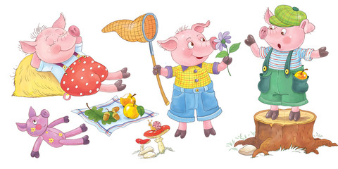 Three little pigs. Fairy tale. Coloring page. Illustration for children. Cute and funny cartoon characters
