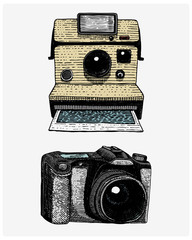 Photo camera set vintage, engraved hand drawn in sketch or wood cut style, old looking retro lens, isolated vector realistic illustration instant