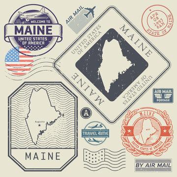 Retro vintage postage stamps set Maine, United States