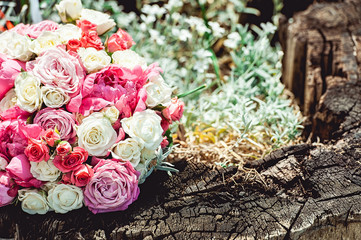 wedding bouquet made of peony and roses