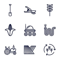 Set of 9 agriculture outline icons