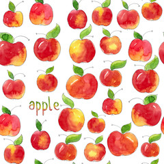 Watercolor hand drawn illustration sea,less pattern background doodle set of red apples with leaves isolated on white