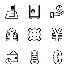 Set of 9 bank outline icons