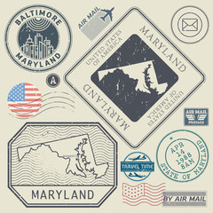 Retro vintage postage stamps set Maryland, United States