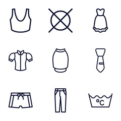 Set of 9 clothes outline icons