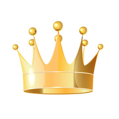 Isolated on white background realistic Golden crown.