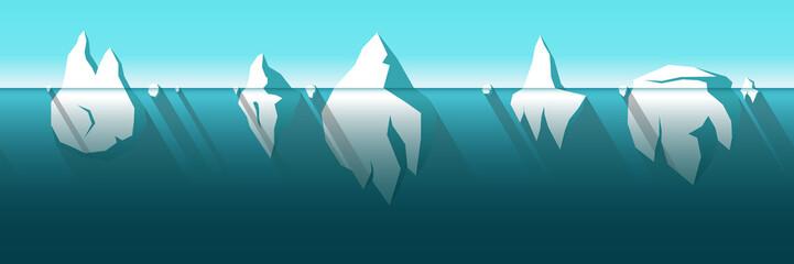 ceberg horizontally seamless pattern vector background. Simple flat iceberg set. Cold colors vector illustration. Winter or spring sea backdrop. Floating ice theme. Ice mountain sea set.