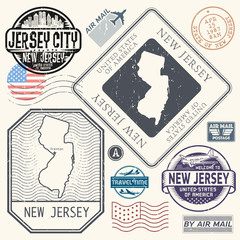Retro vintage postage stamps set New Jersey, United States