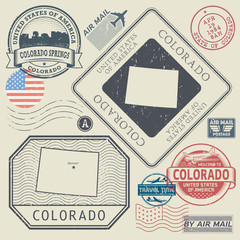 Retro vintage postage stamps set Colorado, United States