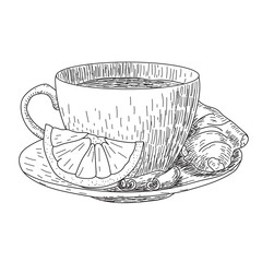Sketch of Hand Drawn Cup with lemon and ginger mug of hot drink coffee, tea etc isolated on white background