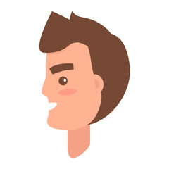 Male Character Face from Sideview Illustration