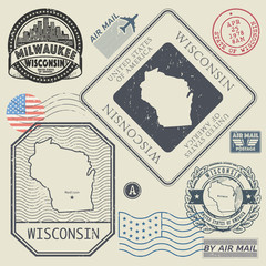 Retro vintage postage stamps set Wisconsin, United States