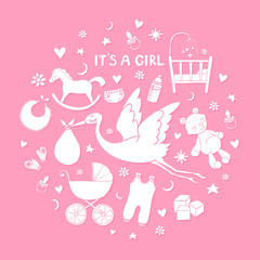 Set of hand drawn elements. Baby girl stuff. Collection of vector cute icons
