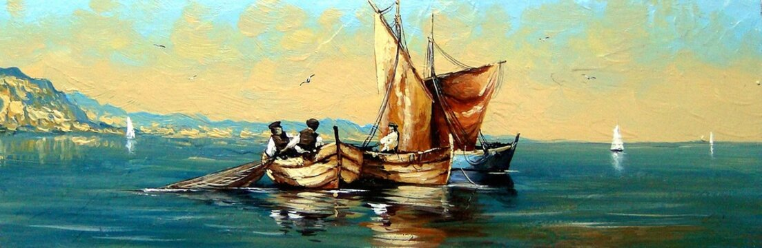 Fisherman, ships, boat, sea landscape, oil paintings