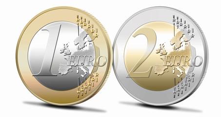 3d; Ein und Zwei Euromünze; freigestellt