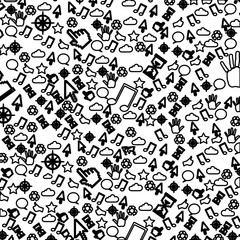 pattern sketch silhouette communication tech elements vector illustration