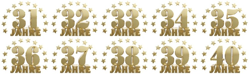 Golden digit one and the word of the year, decorated with stars. Translated from the German. 3D illustration