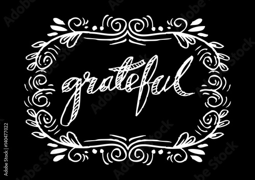 Quot grateful hand lettering modern calligraphy zdjęć